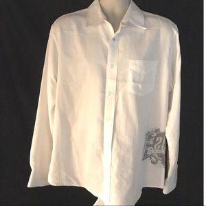 Ezekiel White LS Button Down Shirt Pocket XL